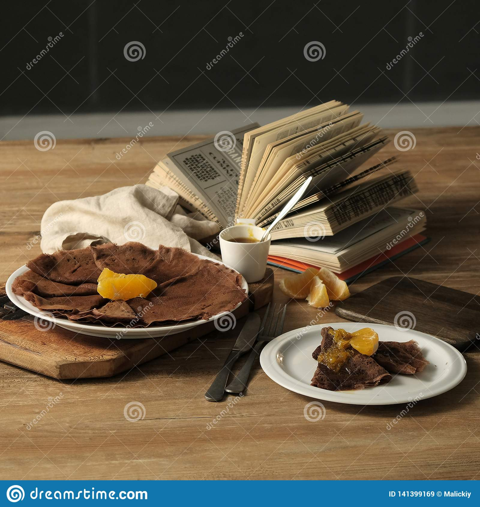 Food Photography Chocolate Pancakes With Orange Jam On A Wooden Plate Stock Image Image Of Vanilla Fruits 141399169