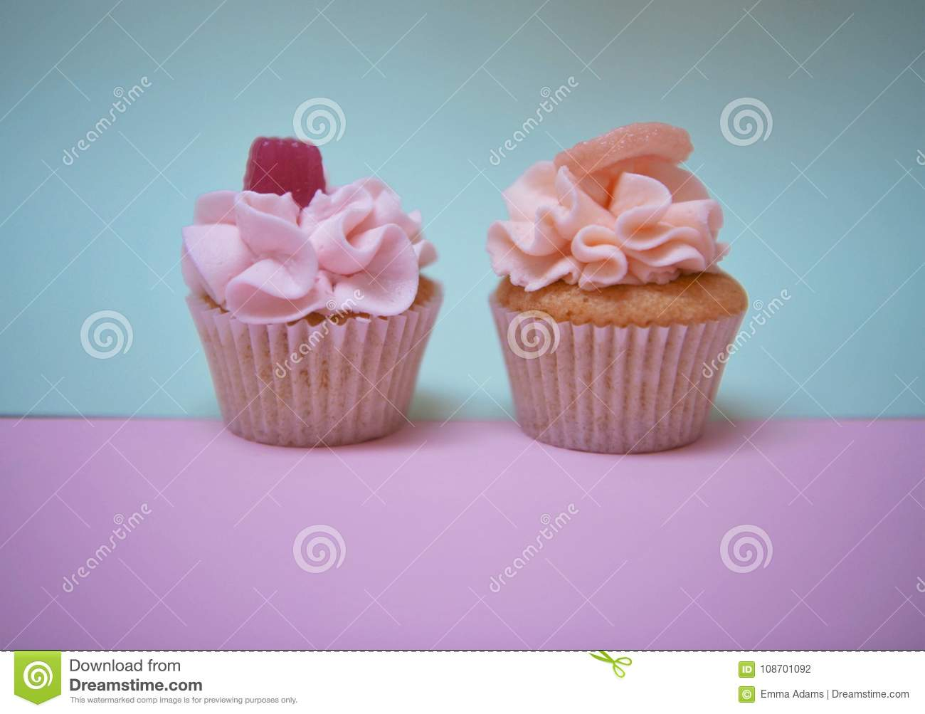 Food Photography Of Home Made Cupcakes With Pink Strawberry Flavor