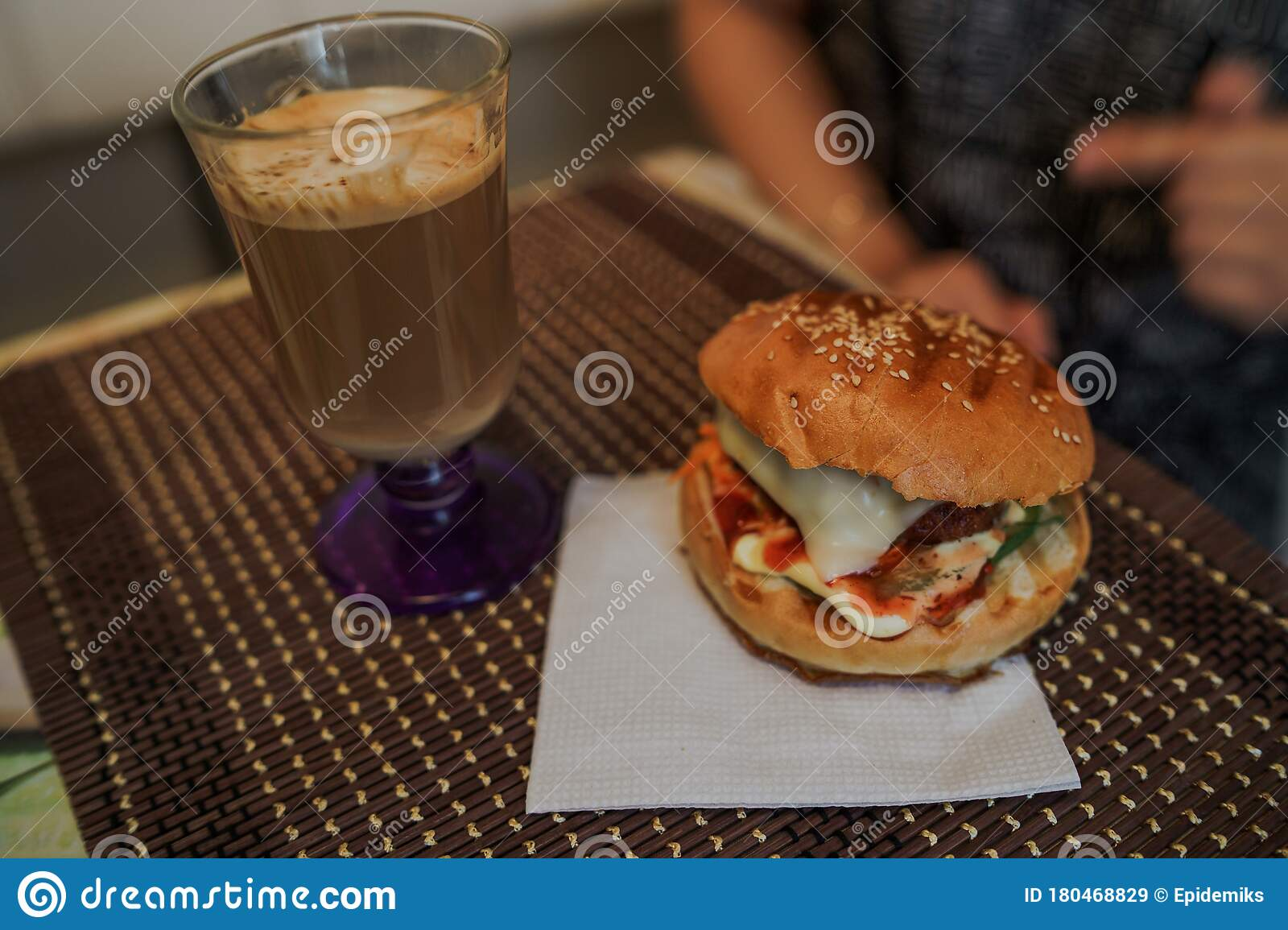 Food Photography Hot Cappuccino With Hamburger At The Table In Fast Food Cafe Cheeseburger And Coffee On The Table Stock Image Image Of Bread Cheeseburger 180468829