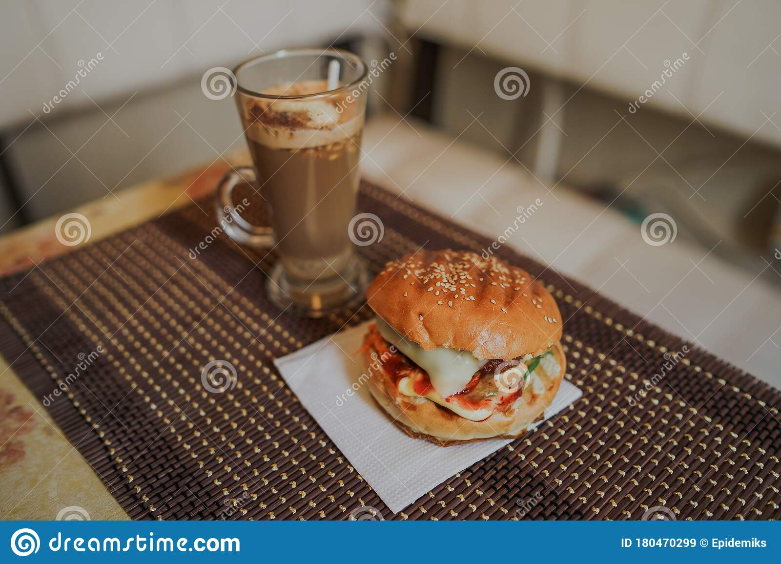 Food Photography Hot Cappuccino With Hamburger At The Table In Fast Food Cafe Cheeseburger And Coffee On The Table Stock Image Image Of Hamburger Gourmet 180470299