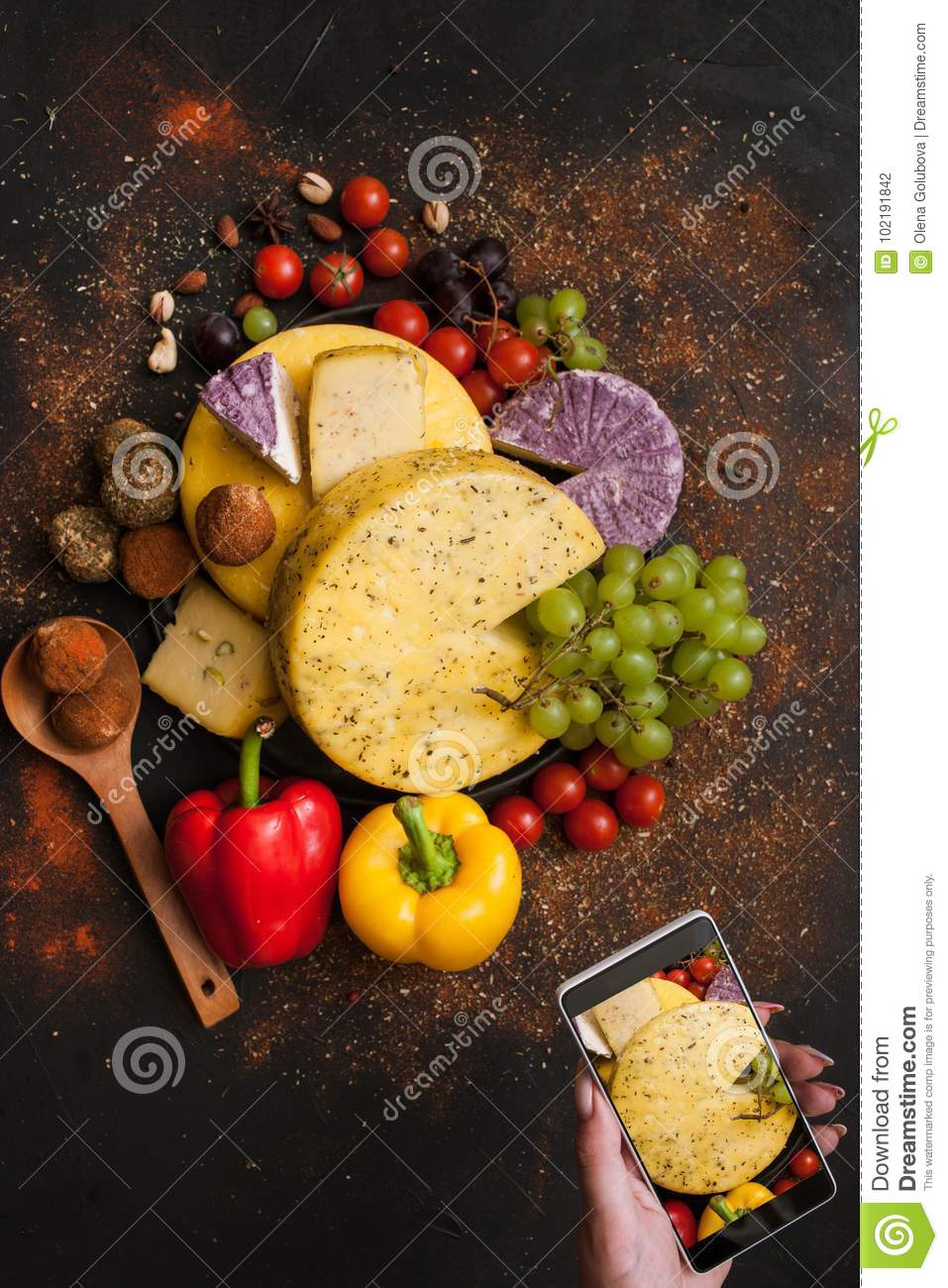 Food photography of rustic dairy. Cheese
