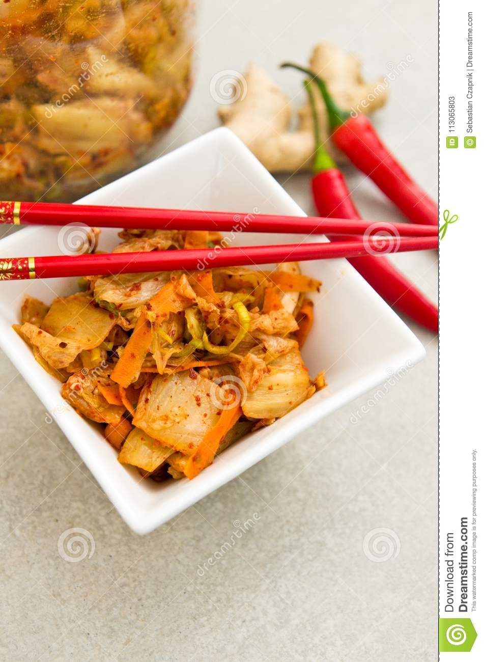 White Bowl Of Korean Kimchi Food With Chopsticks Stock Image Image Of Korea Spice 113065803