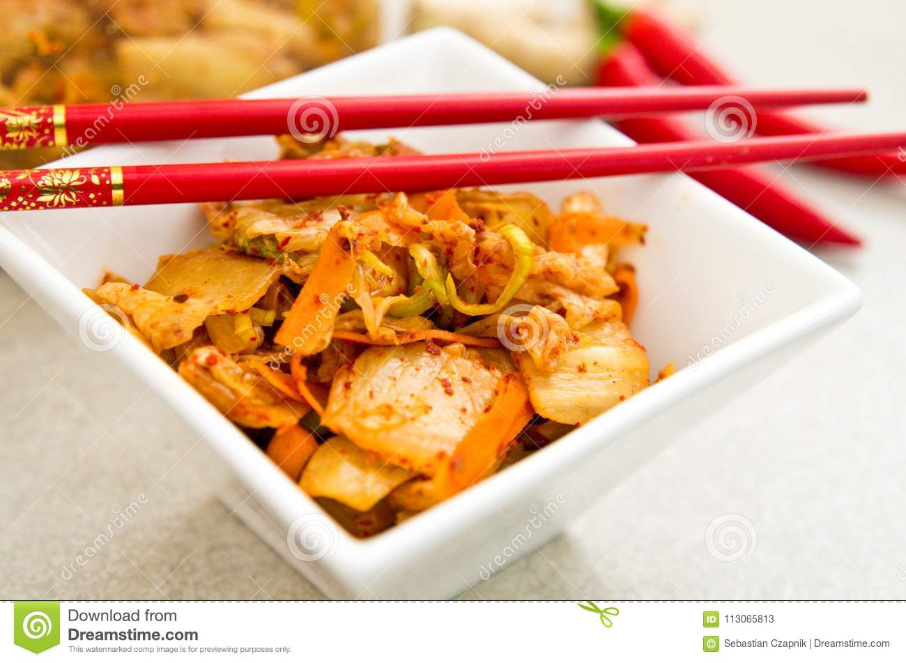 White Bowl Of Korean Kimchi Food With Chopsticks Stock Image Image Of Food Chilli 113065813