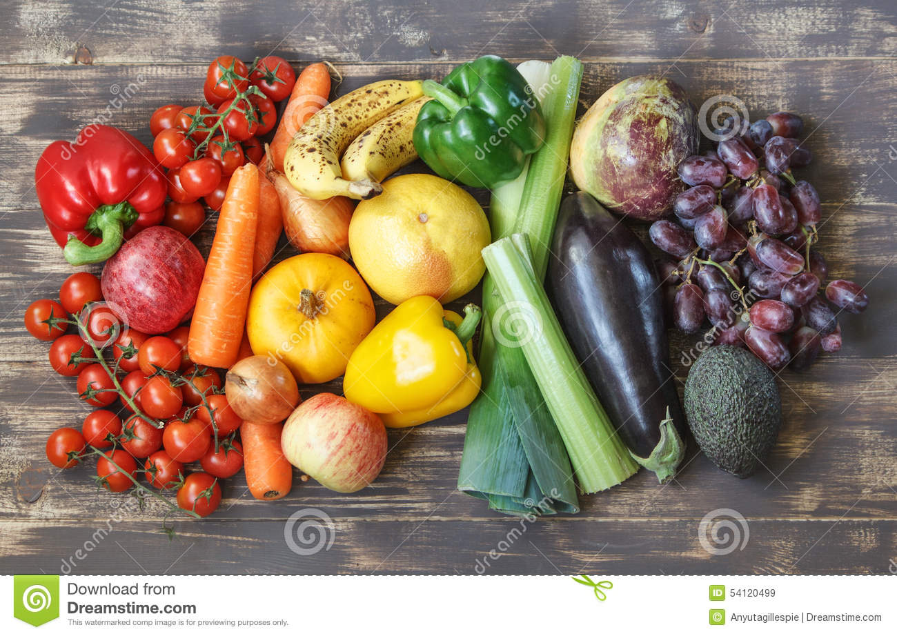 Food photos with fruits and vegetables in a rainbow layout