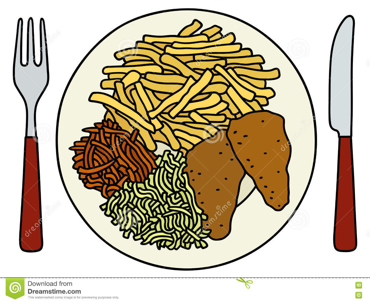 Food on the plate stock vector. Illustration of settings - 75497583 for Plate With Food Drawing  535wja