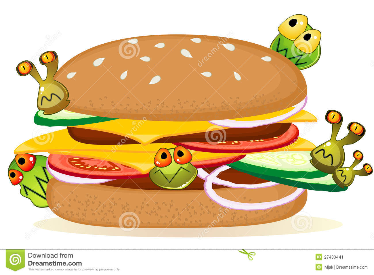 big detailed hamburger with cartoon germs over white mr no pr no 2 ...