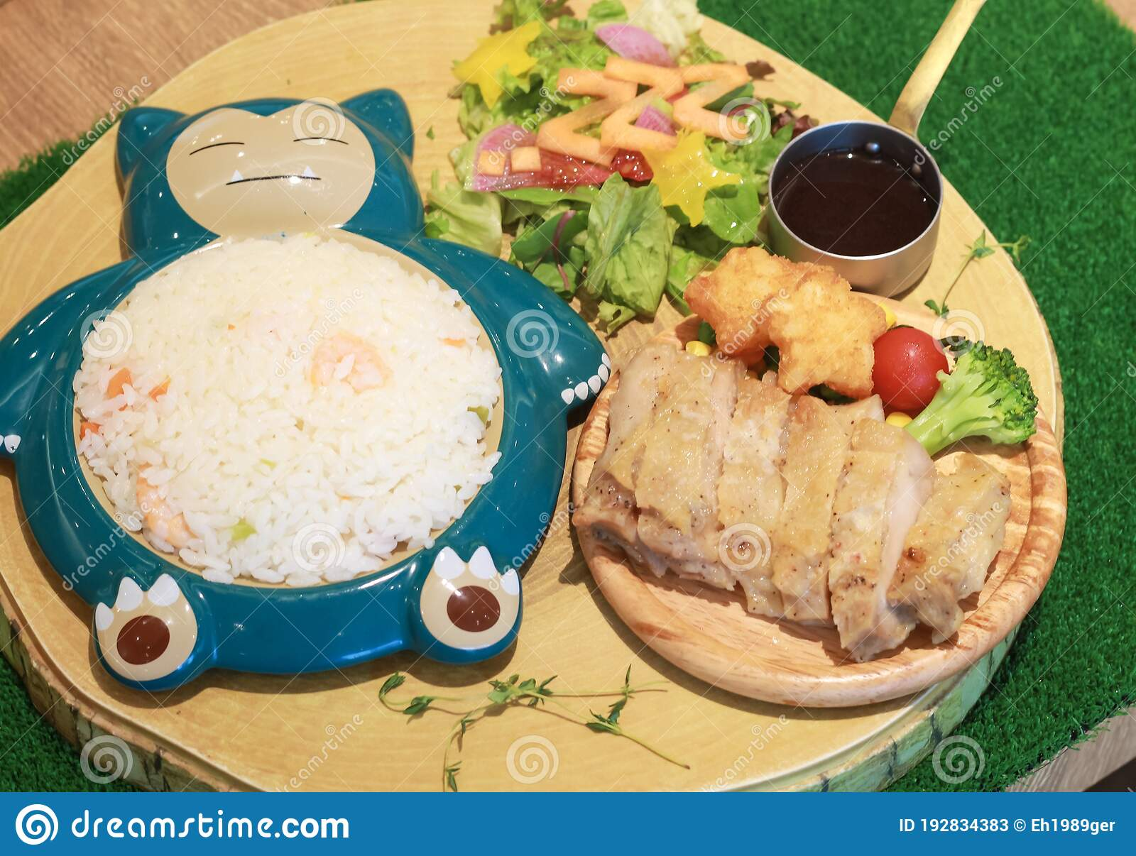 Food At The Pokemon Cafe In Nihonbashi Rice On A Plate Shaped Like The Character Snorlax Salad And Chicken Editorial Stock Photo Image Of Freak Game 192834383