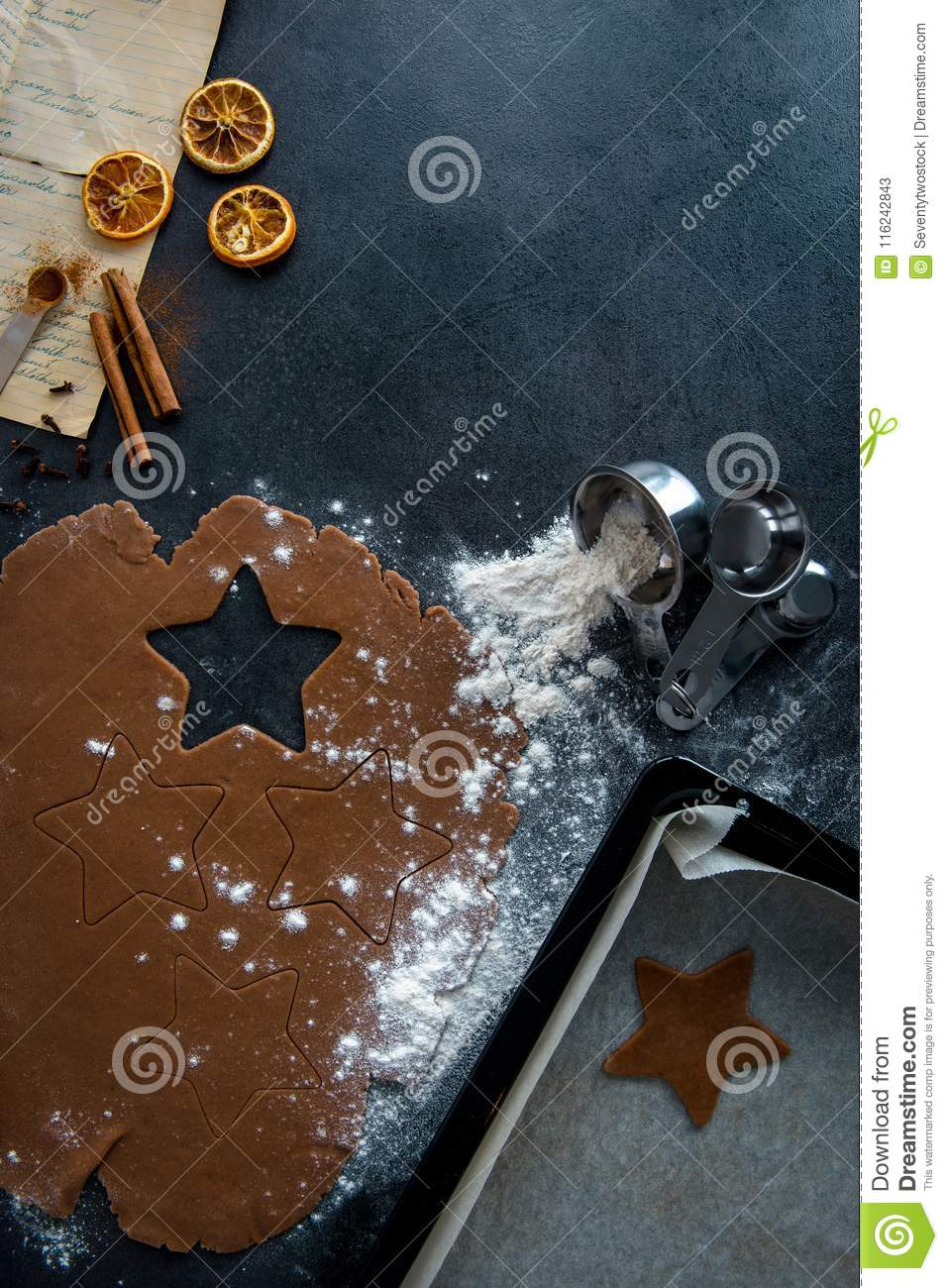 Star Shape Cutout In Gingerbread Dough Stock Image