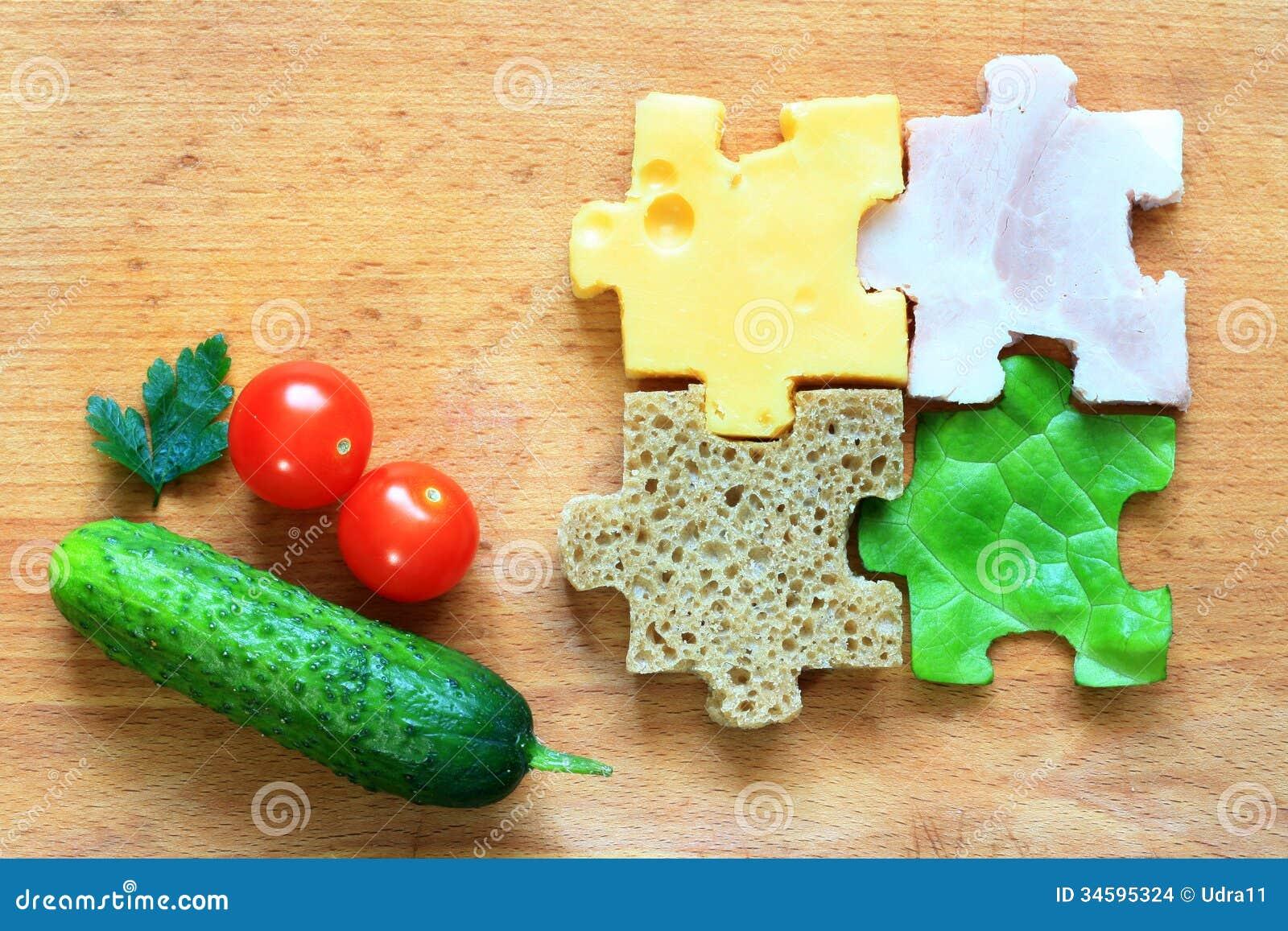 Food puzzle ingredients diet creative concept