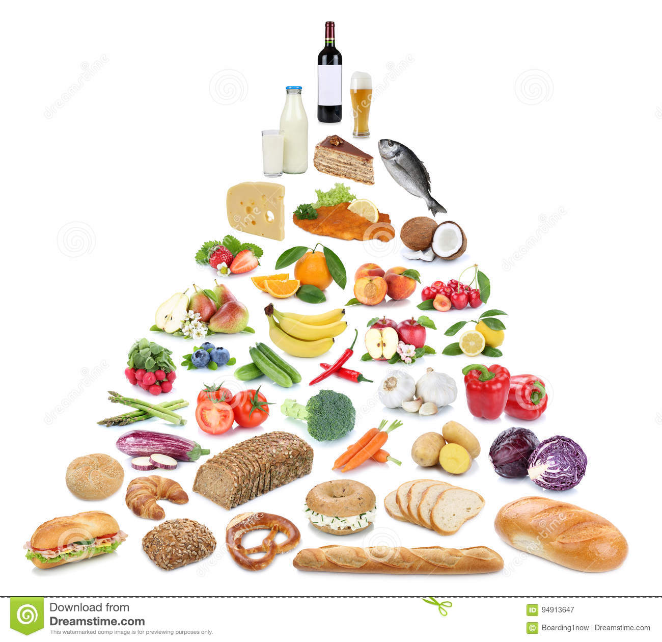 Food pyramid healthy eating fruits and vegetables fruit collection isolated