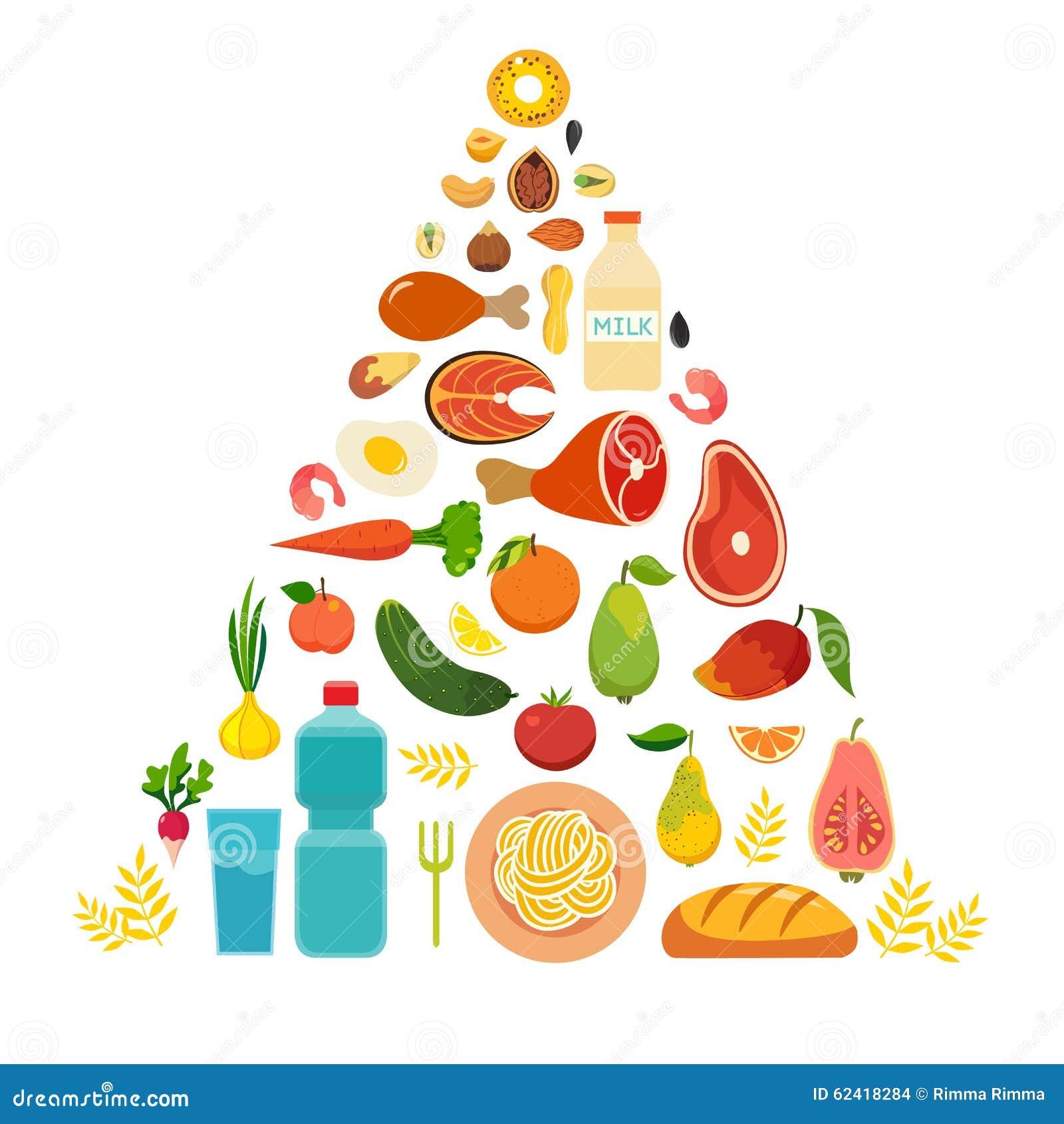 The food pyramid healthy food, colorful vector illustration, cartoon ...