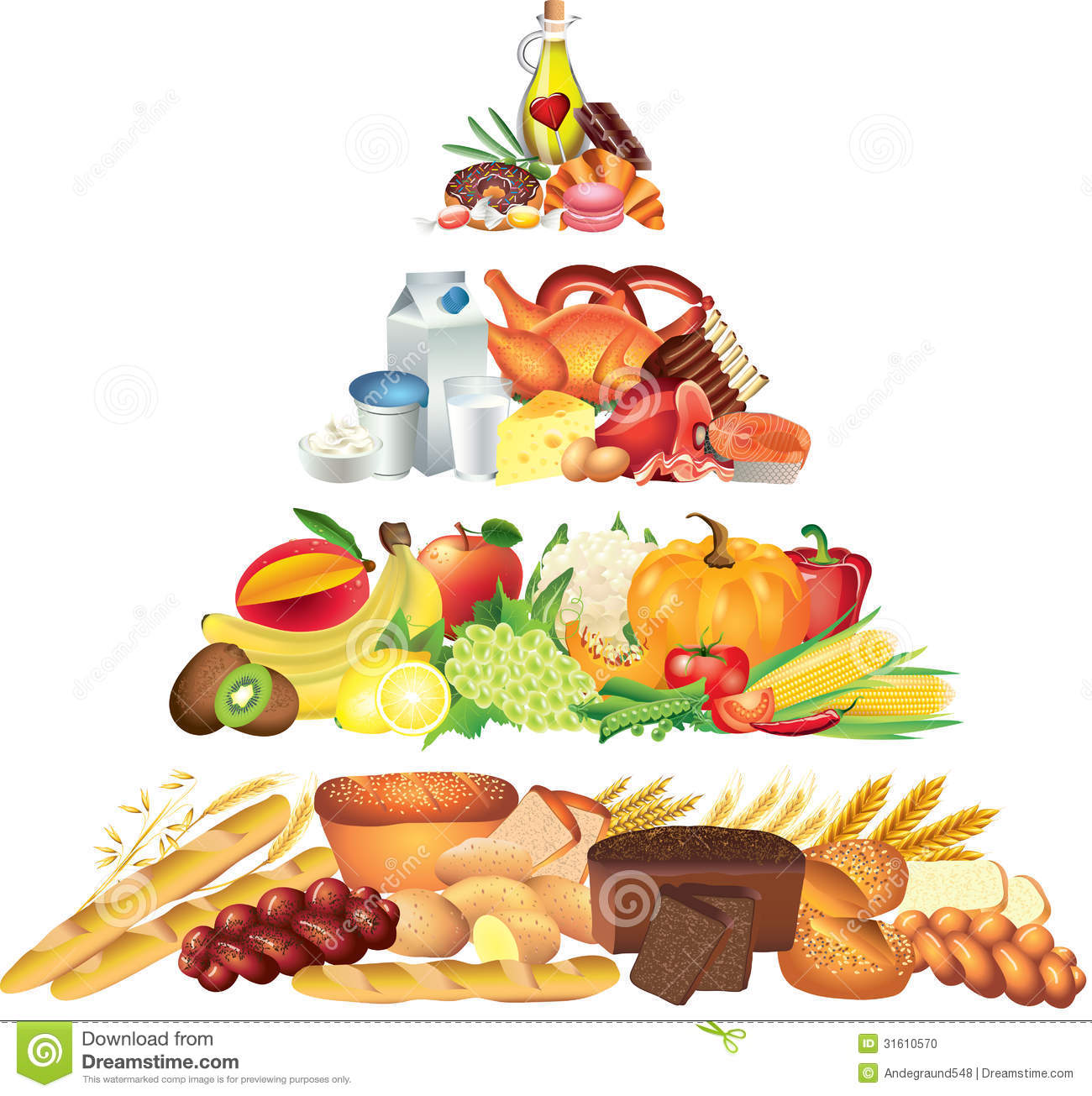 Food Pyramid Photo Realistic Illustration Stock Photo - Image ...