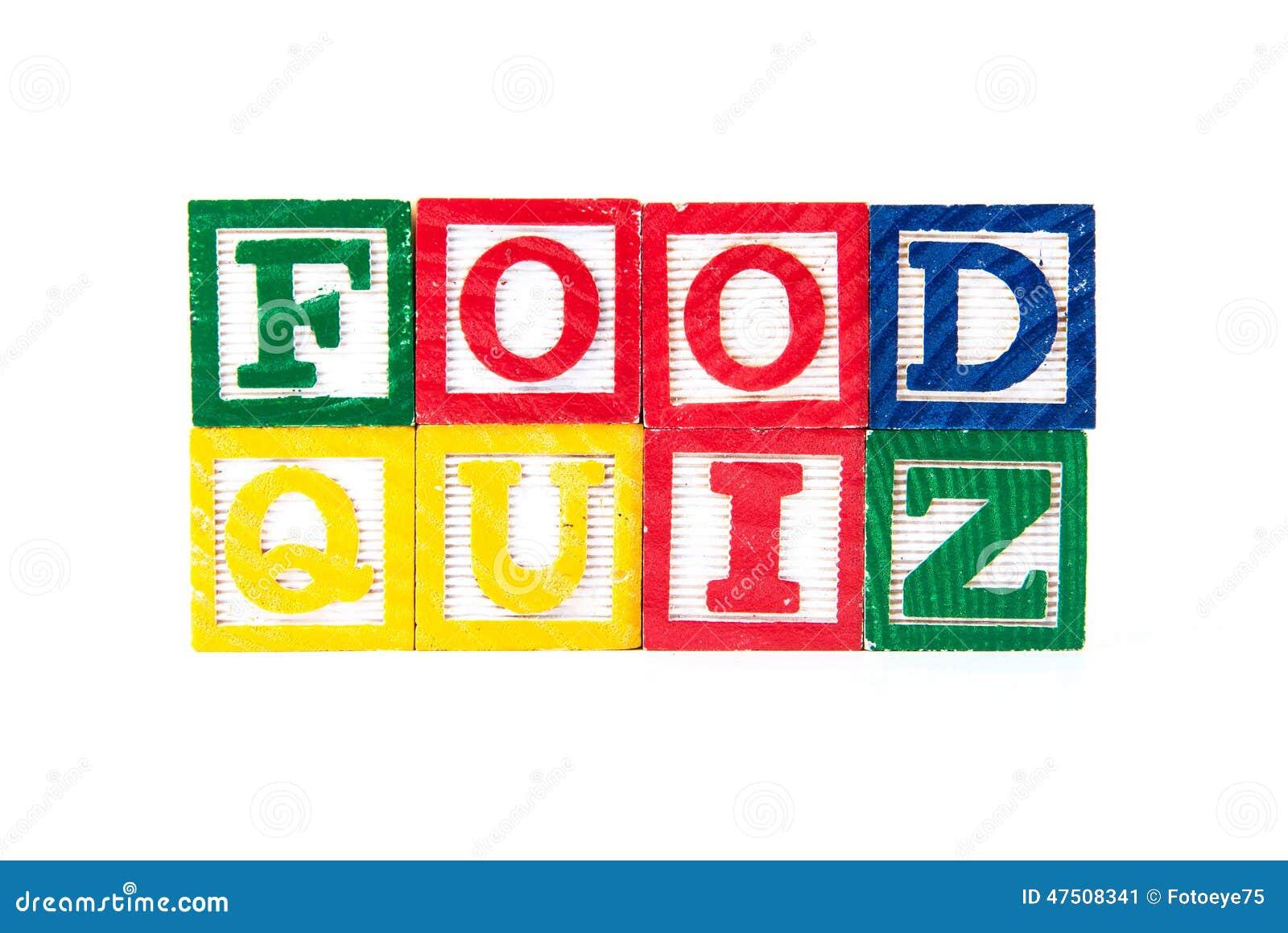 Food quiz alphabet baby blocks on white stock image for Cuisine quiz