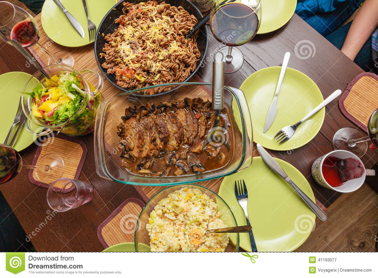 Food. Ready Dinner On The Table. Meal Time. Stock Photo