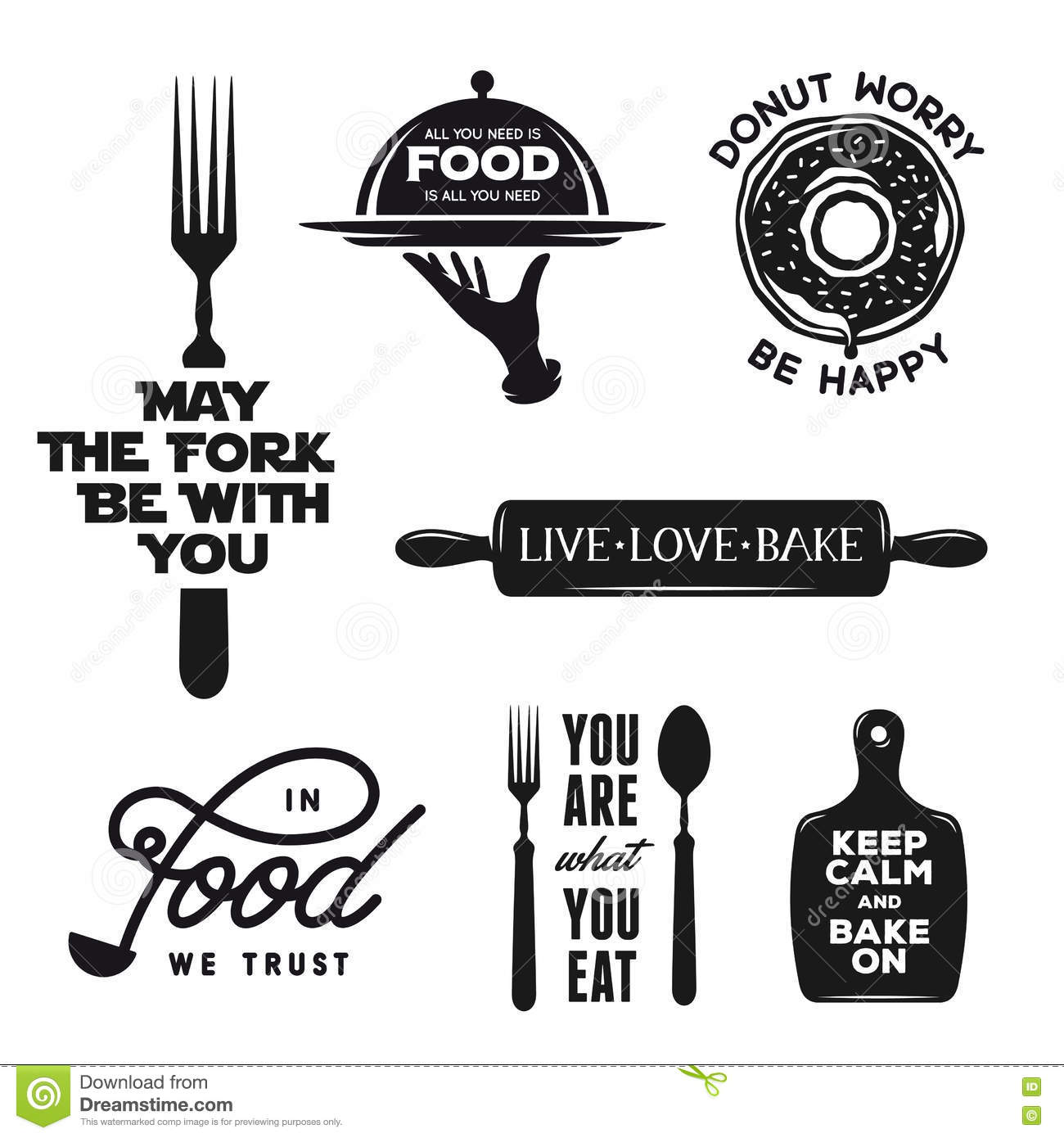 Food Related Typography Set. Quotes About Cooking. Vintage ...