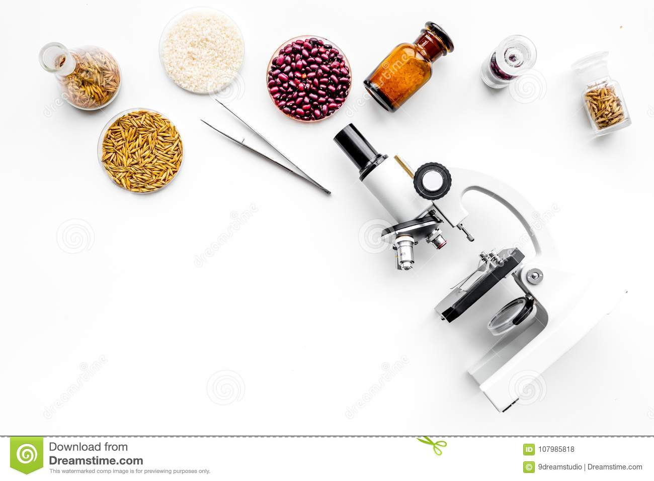 Food safety. Wheat, rice and red beans near microscope on white background top view copy space
