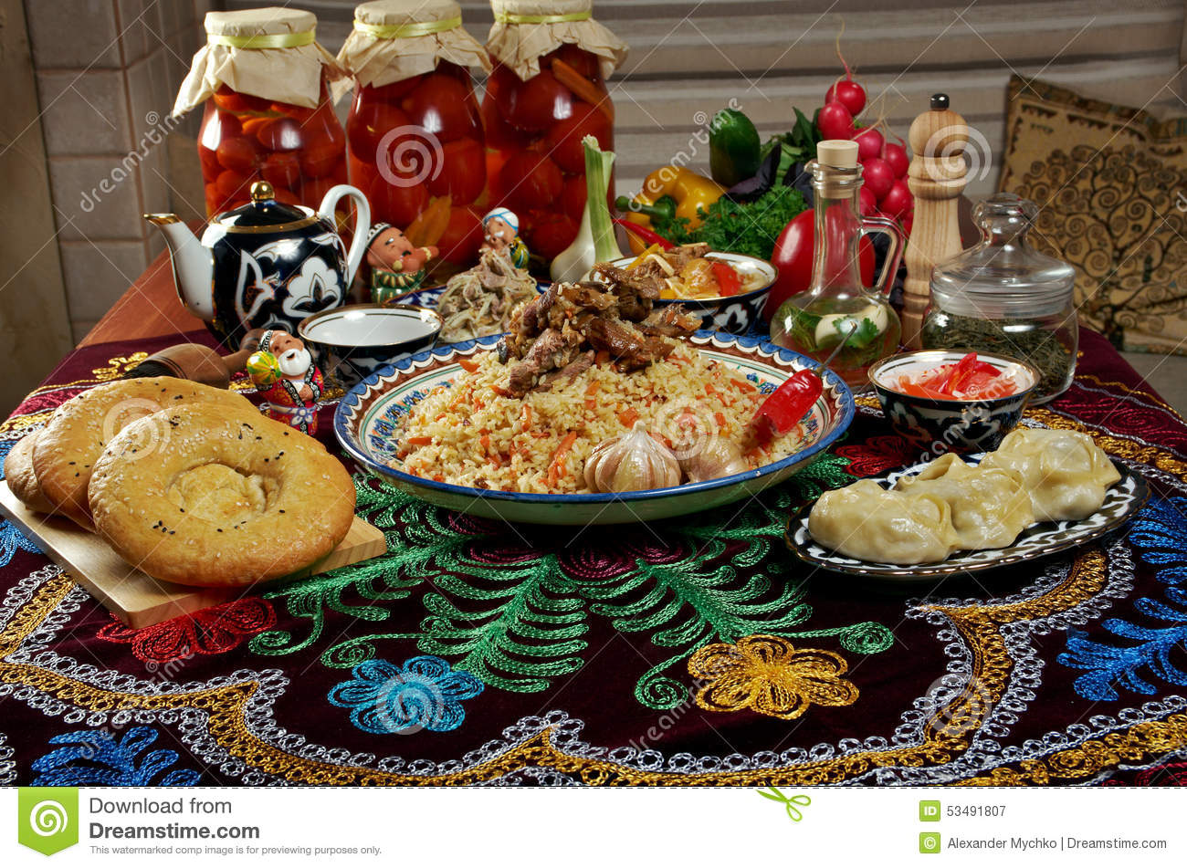 Food set central asian cuisine stock photo image 53491807 for Asia oriental cuisine