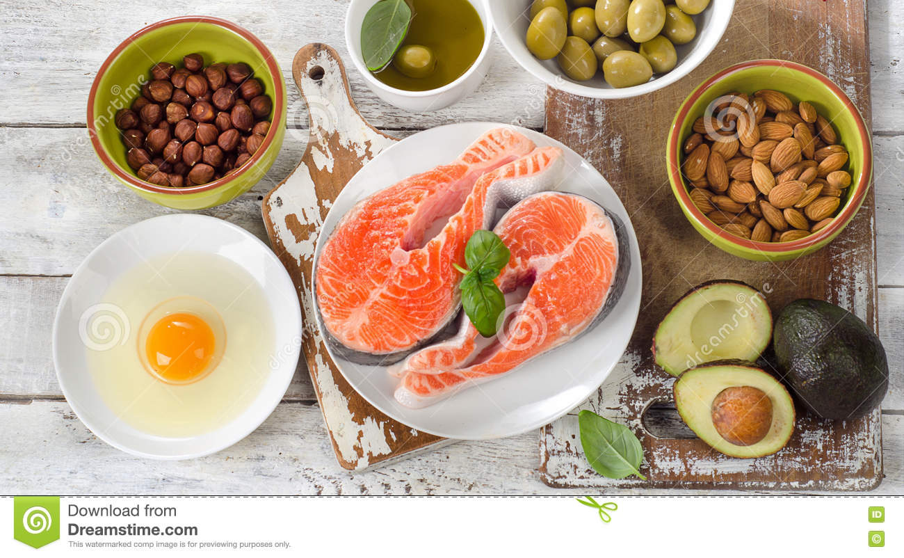 Food sources of healthy fats stock photo image 75656299 for Fish oils are a good dietary source of