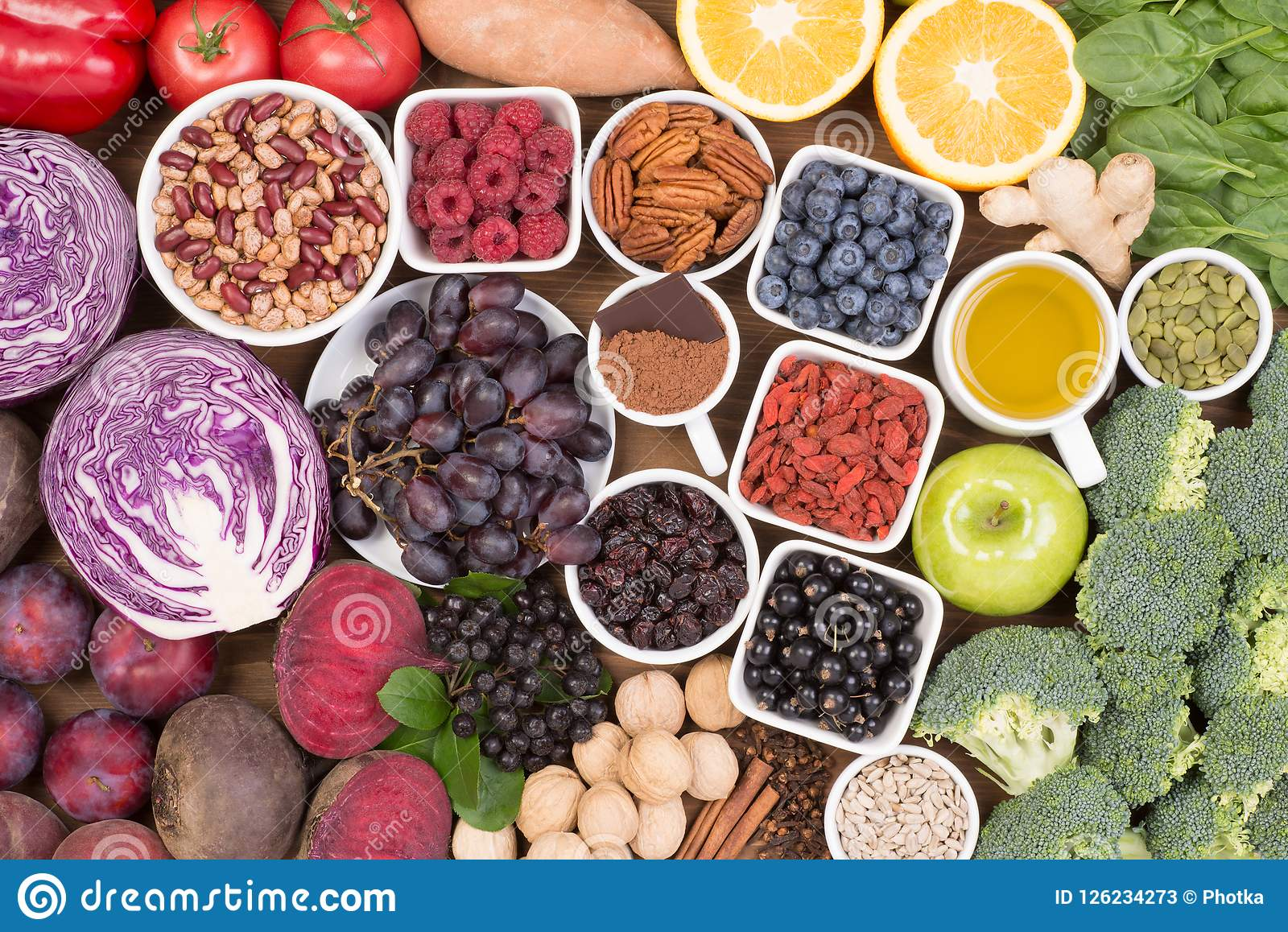 Food sources of natural antioxidants such as fruits, vegetables, nuts and cocoa powder