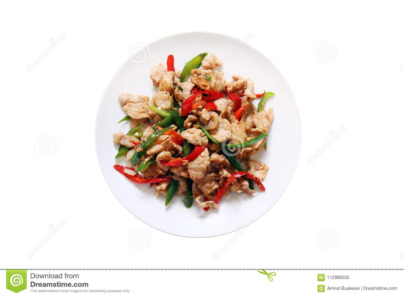 Spicy food, chili food, Fried sweet pepper with pork, Fried chili paste with pork, meat, Salted pork with chili cooking oil & Basi