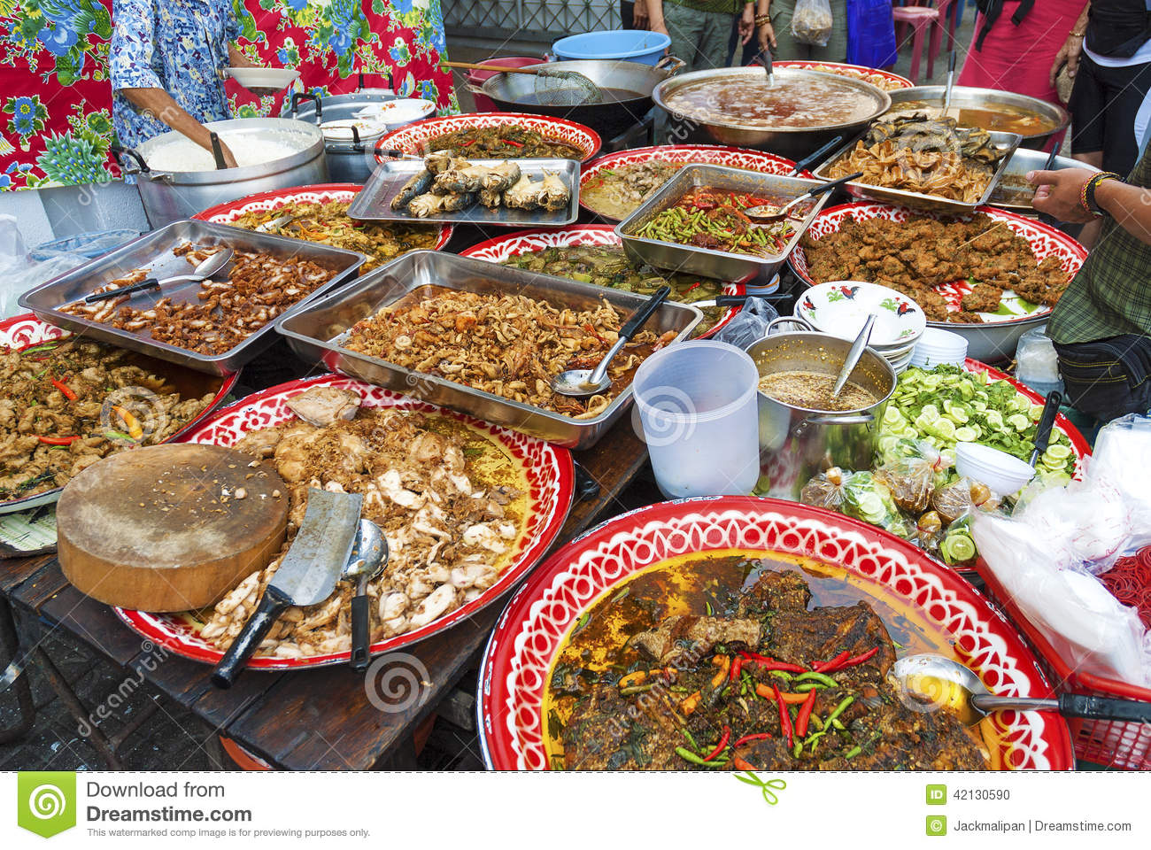 Food stall in bangkok thailand stock photo image 42130590 for Thailande cuisine