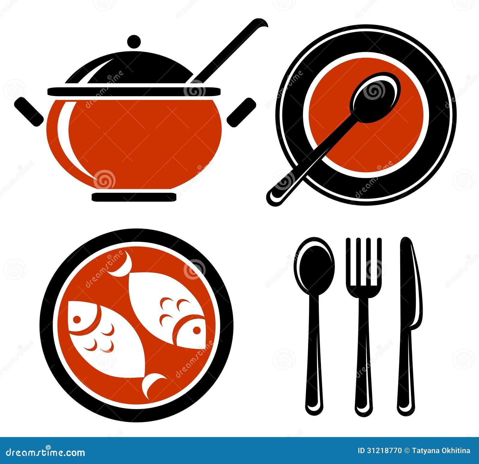 Stylized food symbols set isolated on a white background.