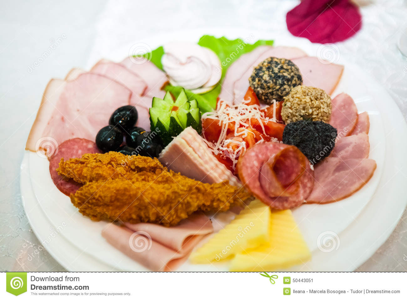 Food and table arrangement with fish appetizers and for Cooking white fish