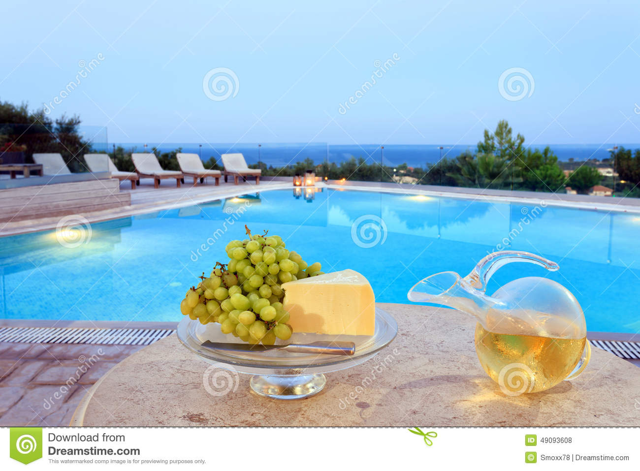 Food on a table by the pool stock photo image 49093608 for Pool and food