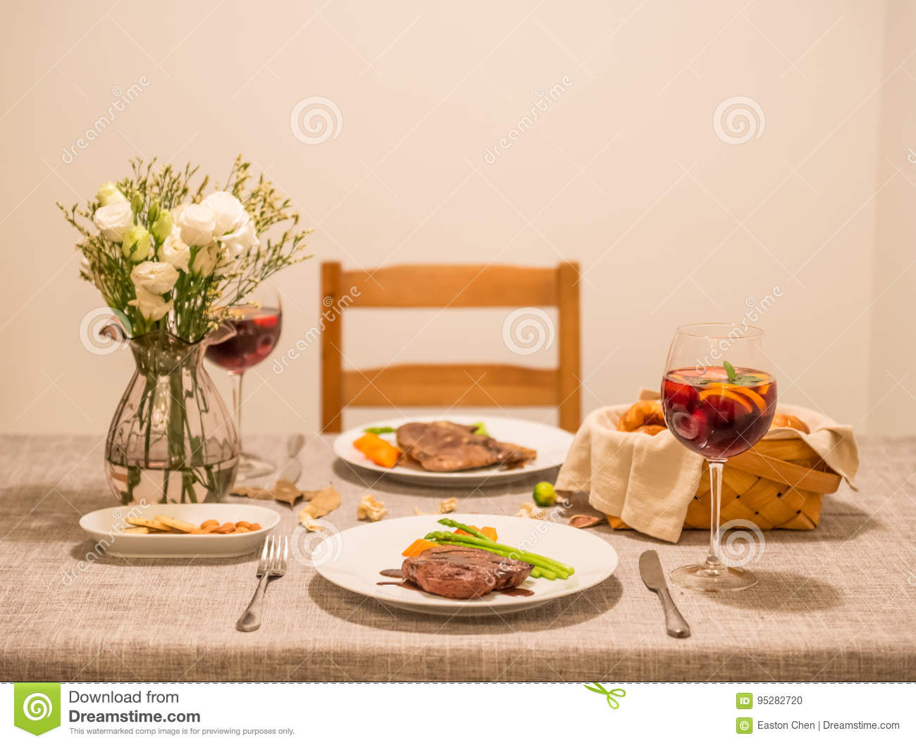 The food on the table and wine