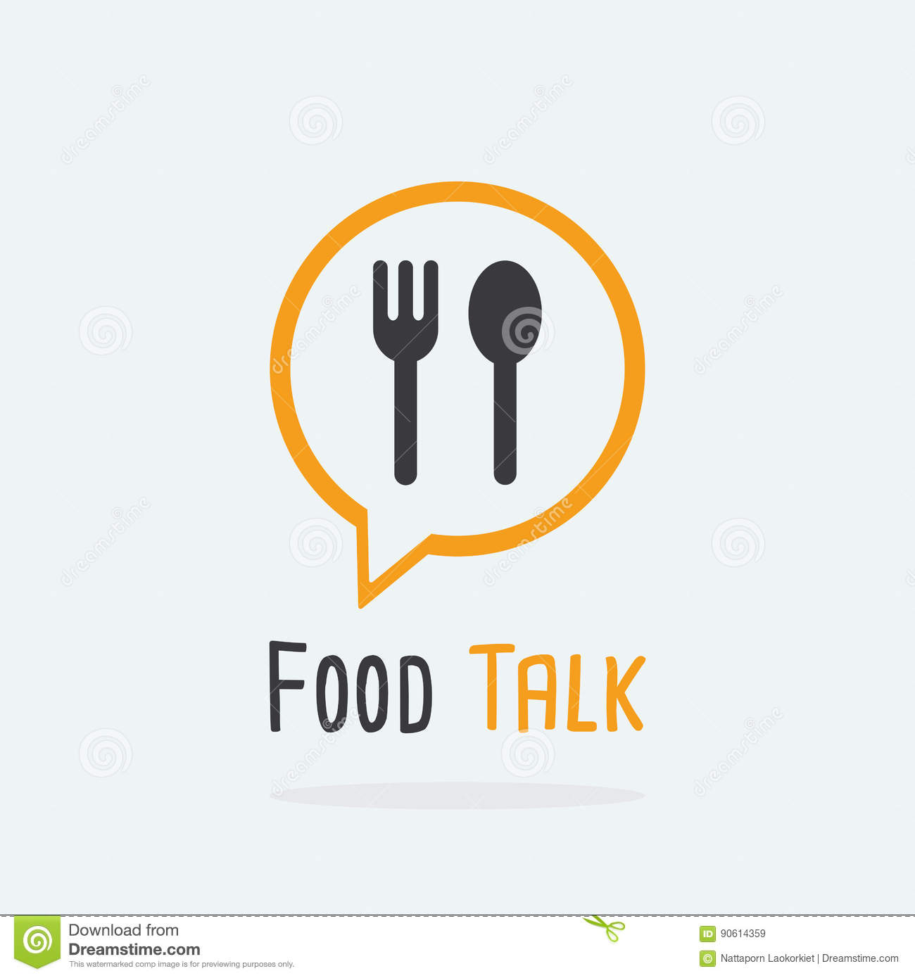 Food Talk logo concept with spoon and fork icon.