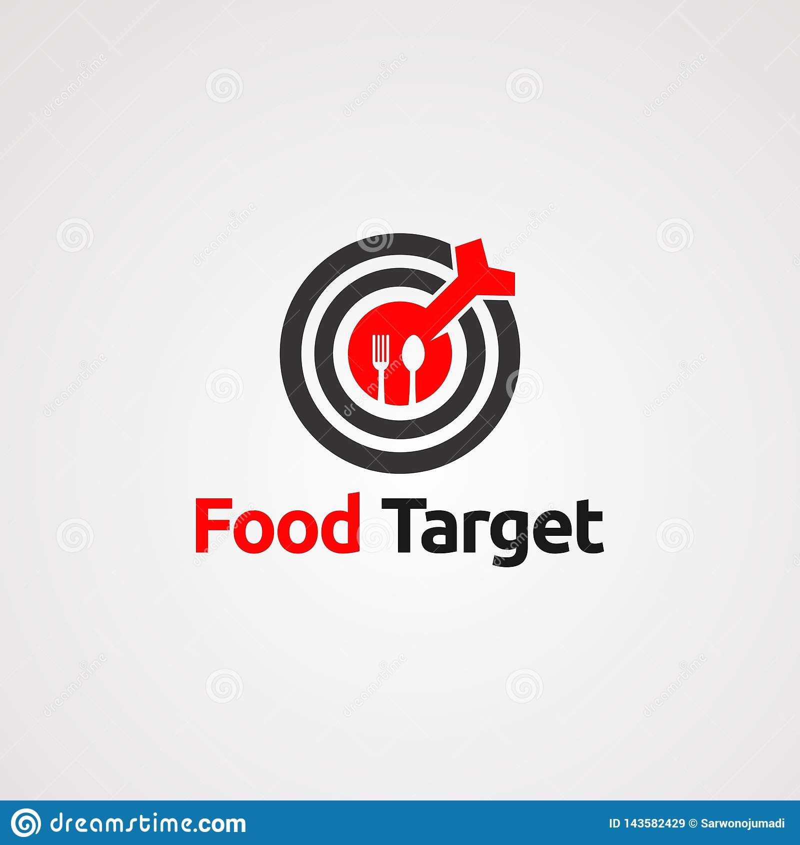 Food target with red arrow on center logo vector, icon, element, and template for company