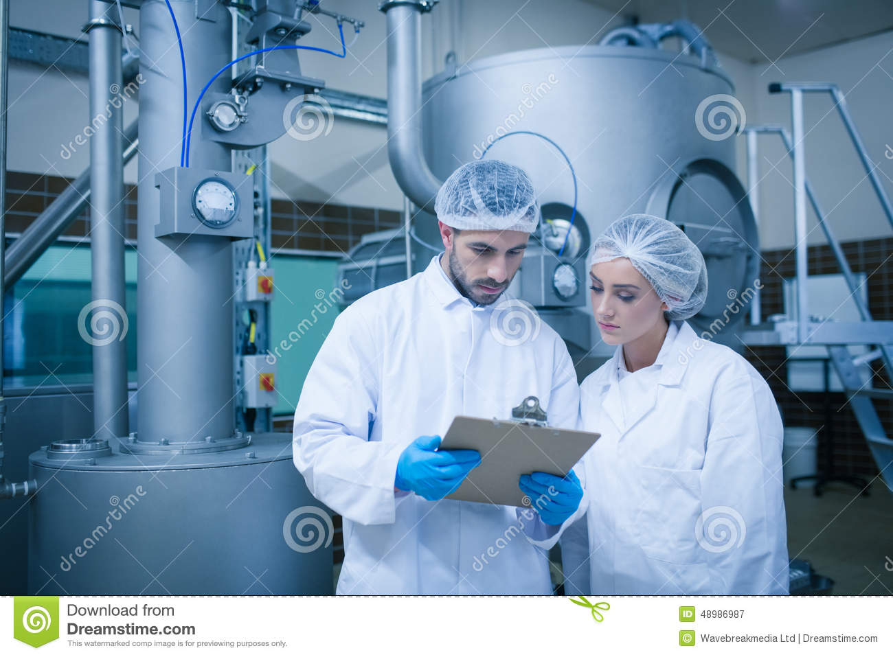 Food technicians working together