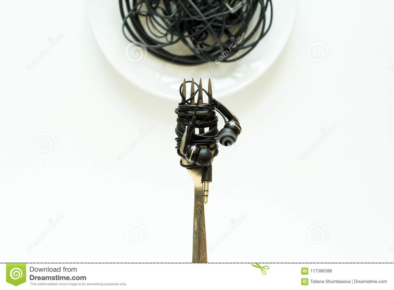 food technology  synthetic food concept  fork with electric wire spaghetti  from phones  food