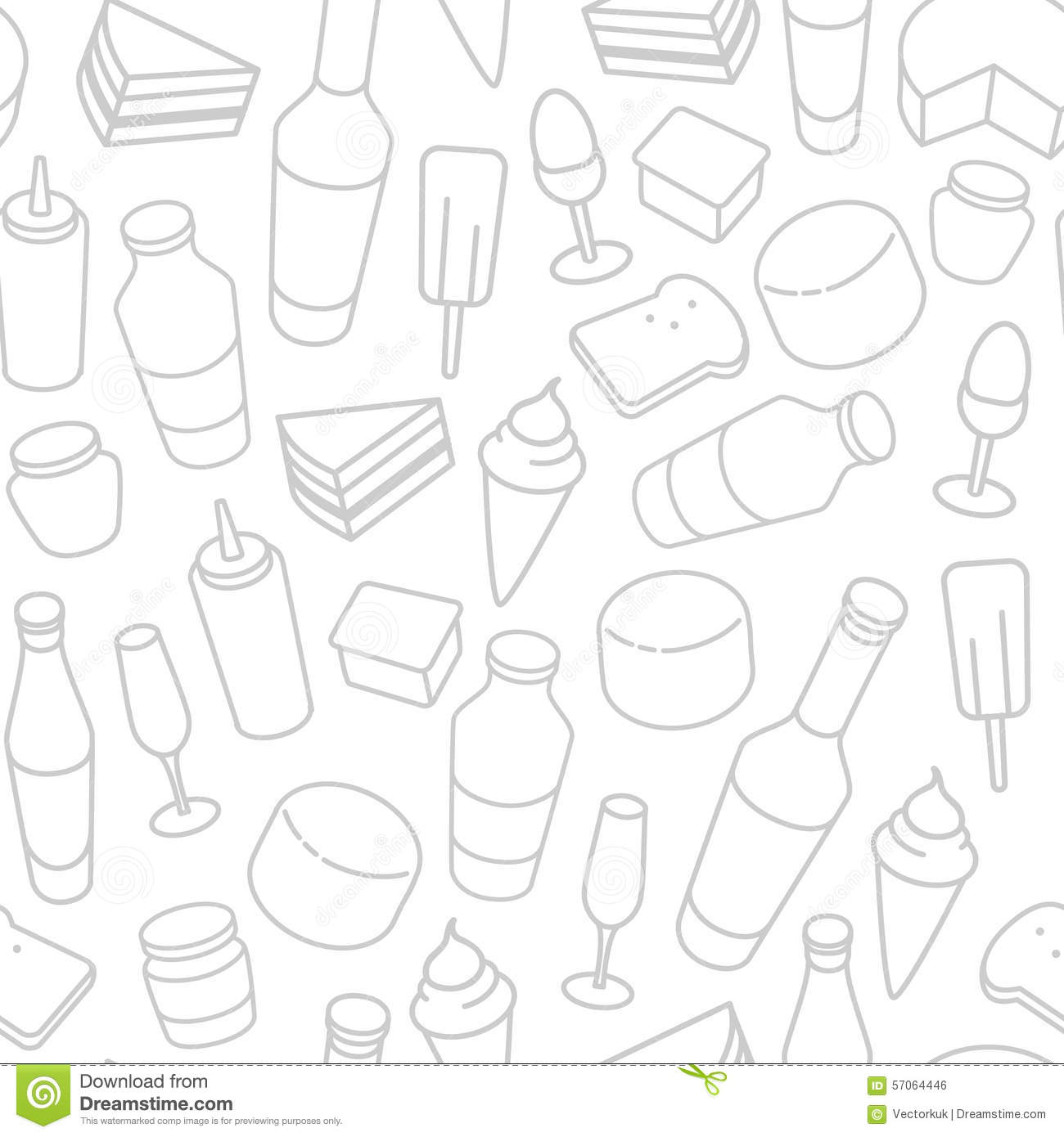 Seamless Wallpaper Pattern With Ice Cream Icons Stock: Food Thin Line Icon Seamless Pattern Stock Vector