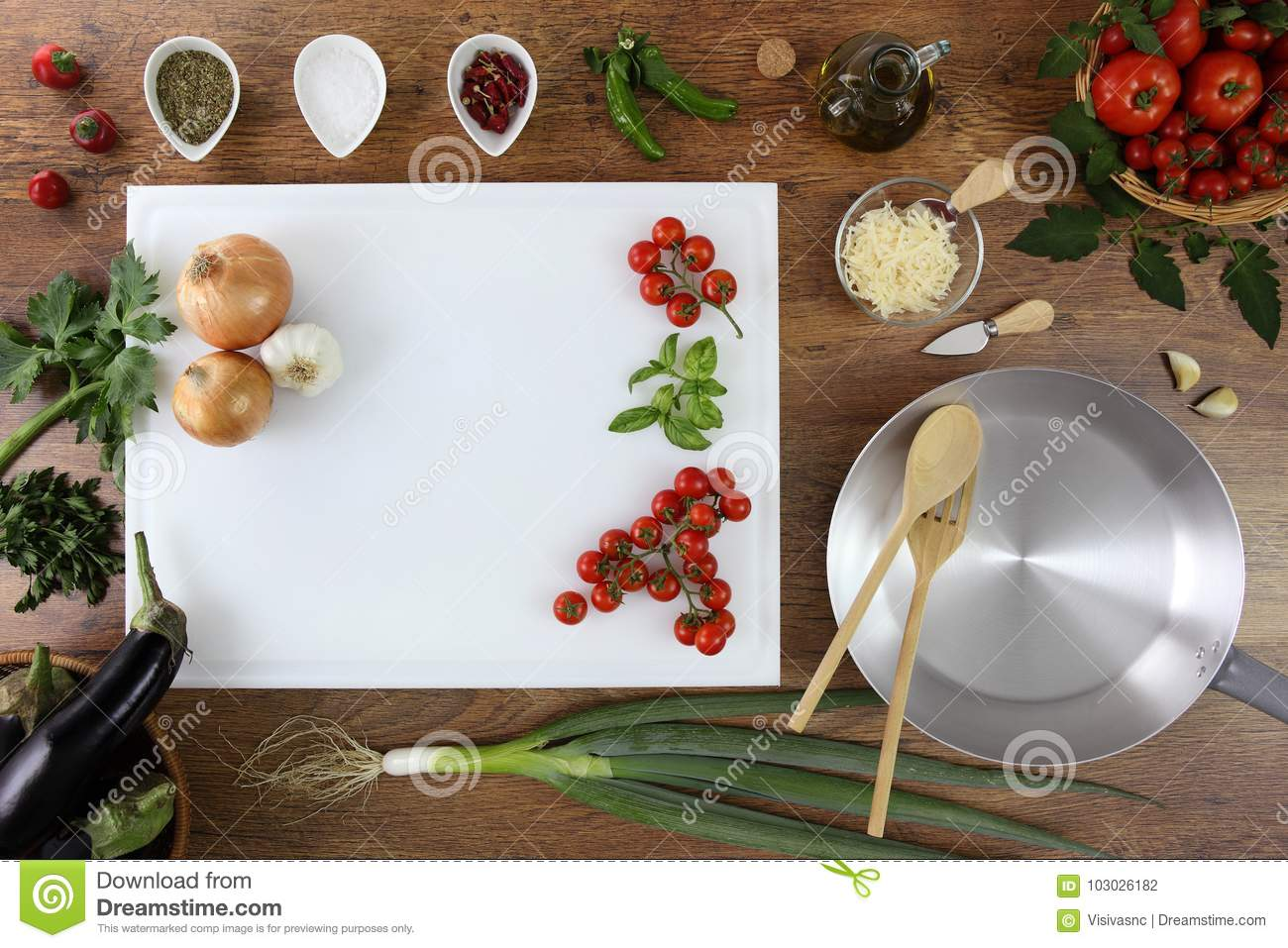 Food top view, kitchen wooden top work with white cutting board