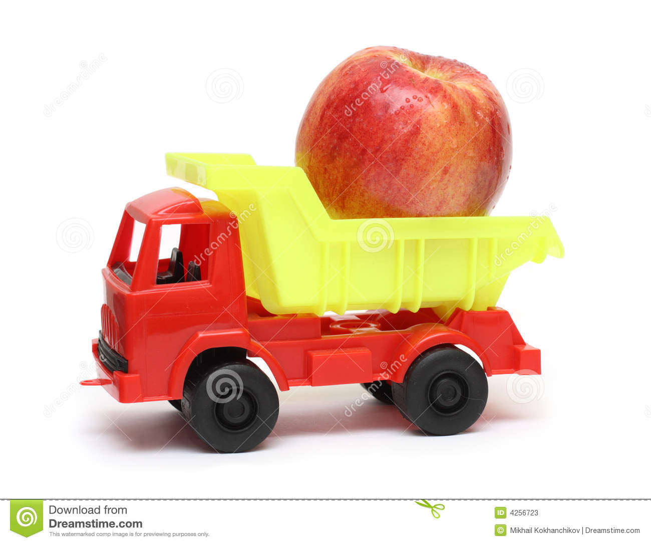 Food Transportation Concept Toy Lorry With Apple Stock