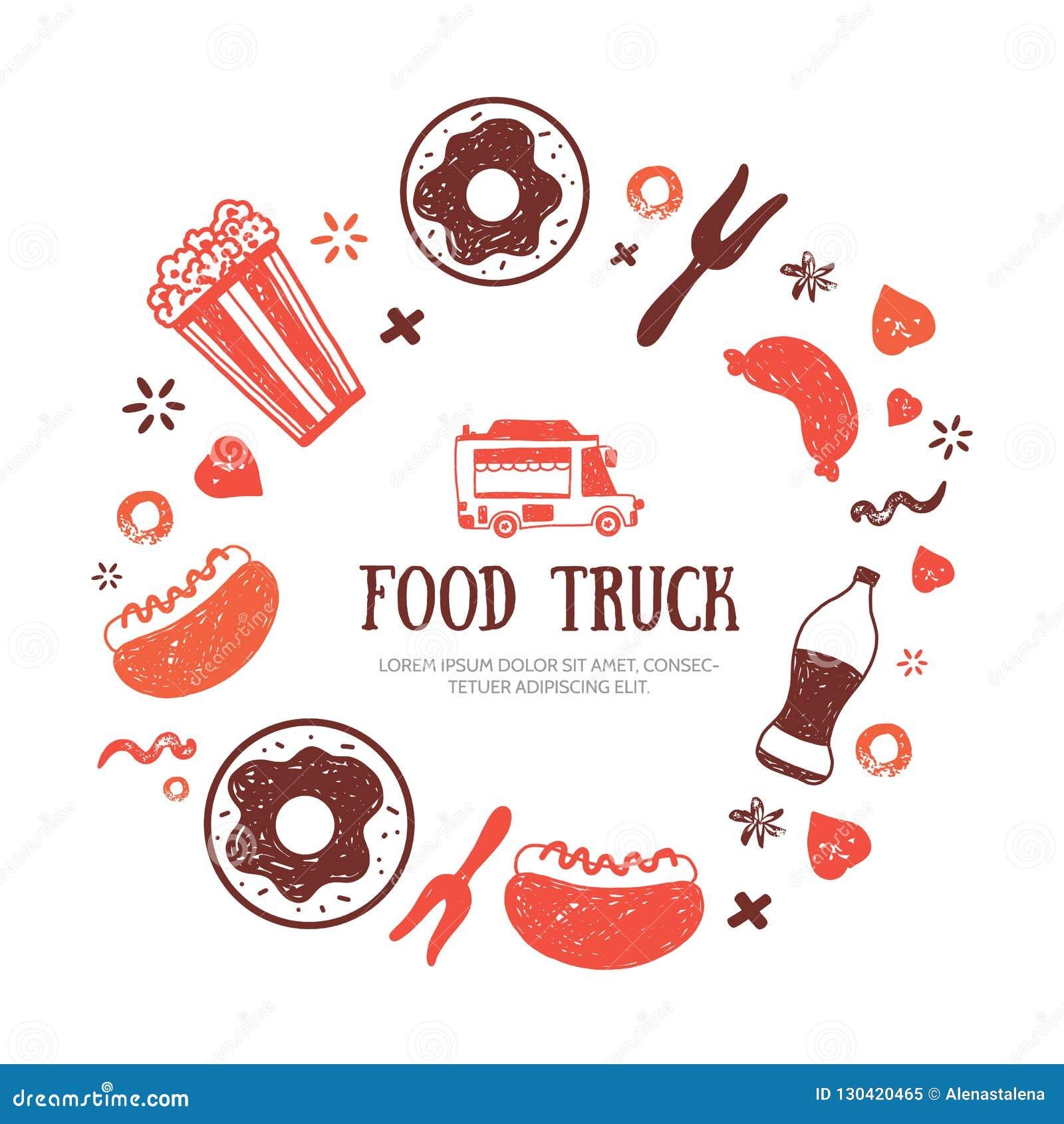 food truck banner template for menu design promotion stock vector