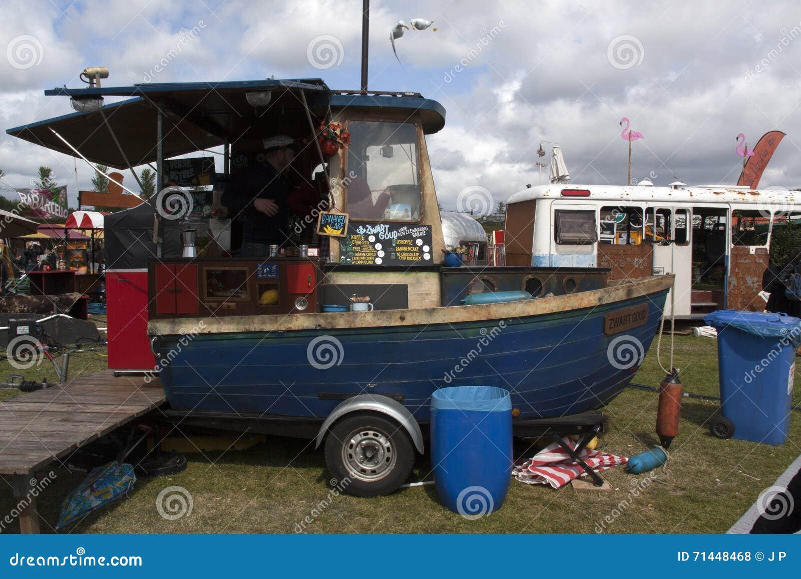 Food Truck Boat In Amsterdam