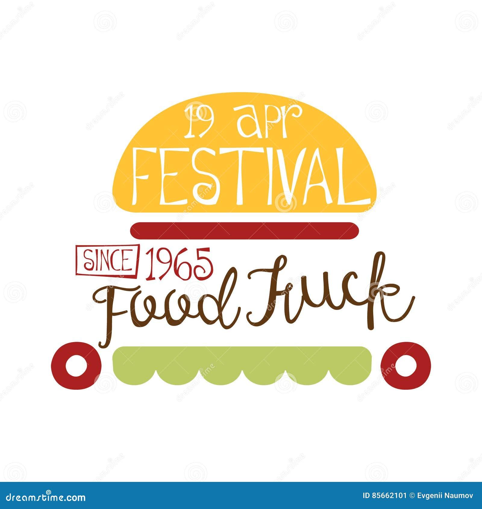 Food Truck Cafe Food Festival Promo Sign Colorful Vector Design