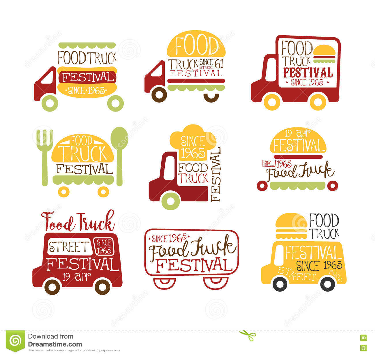 Food truck cafe street food promo signs collection of for Food truck design app