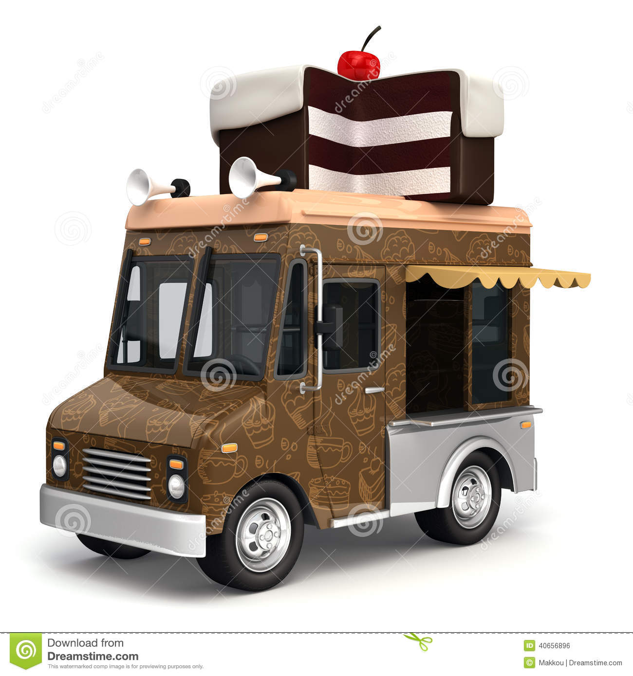 Food truck with cake