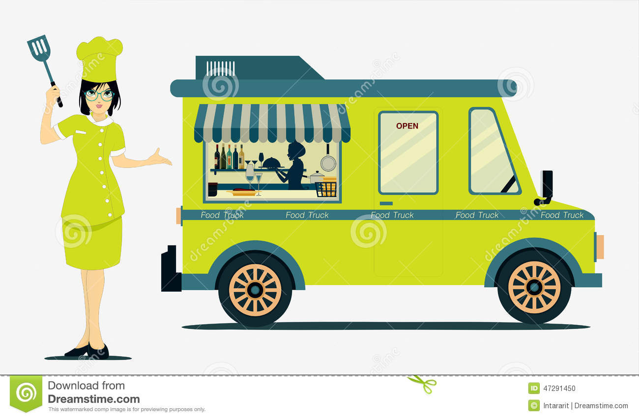 Food Truck Cook With A White Background Stock Photo