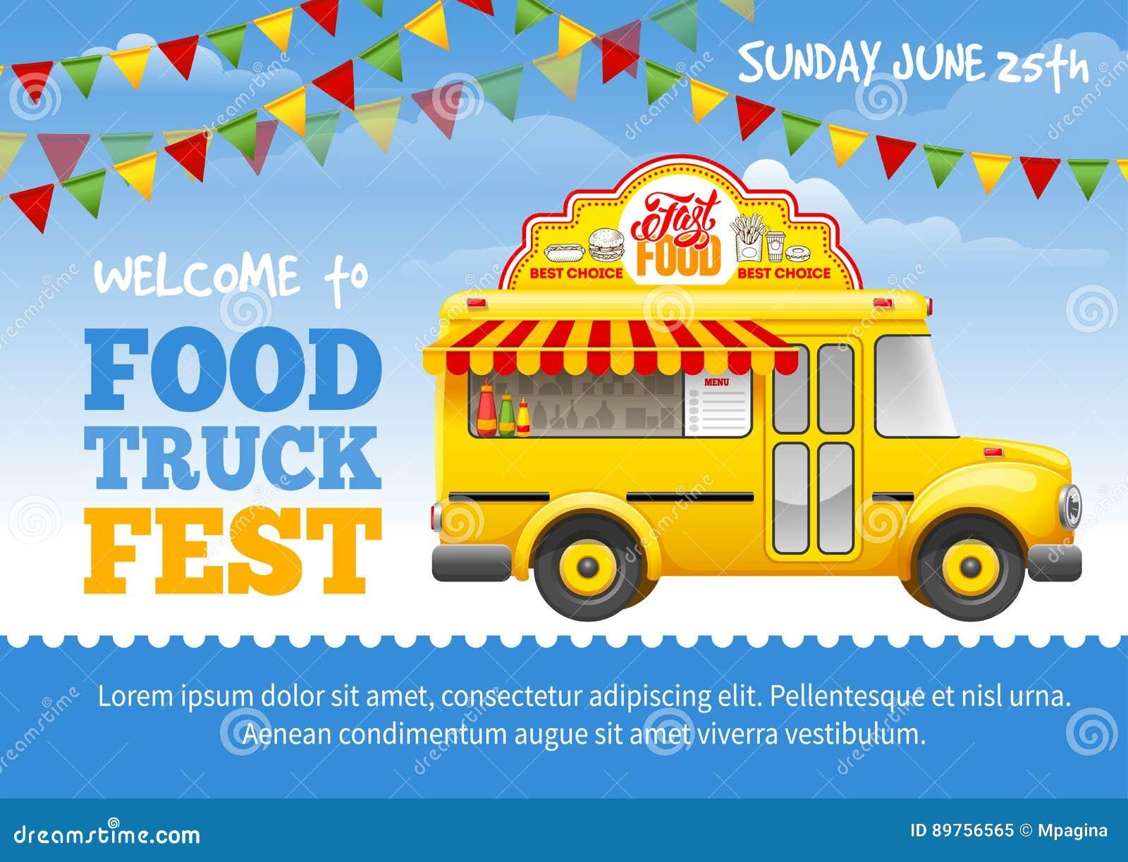 Food Truck Festival Poster Stock Vector Illustration Of
