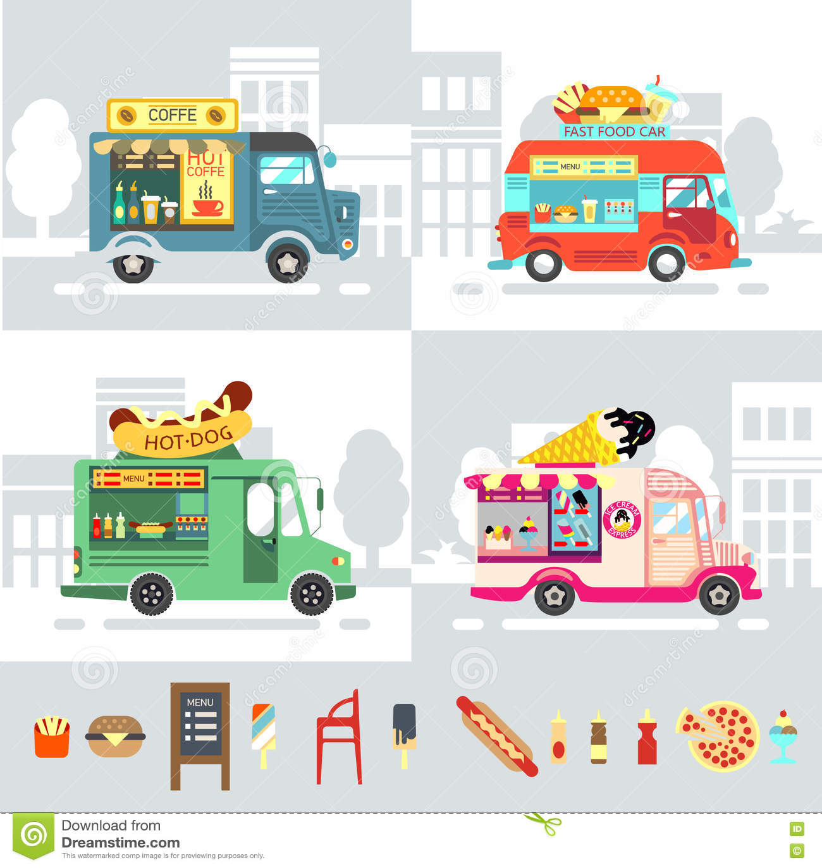 Food truck flat design style modern vector illustration for Food truck design app