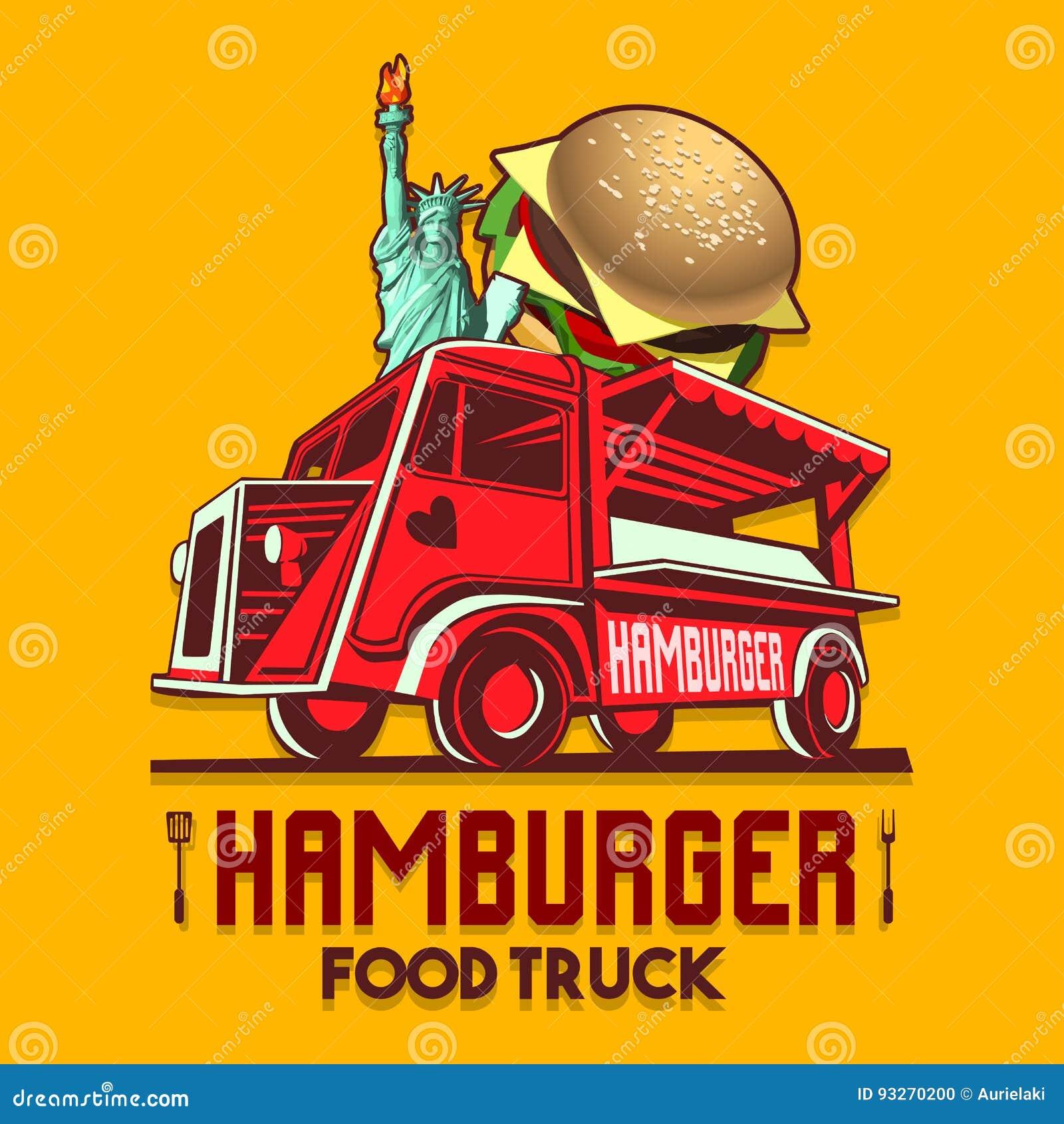 food truck hamburger burger fast delivery service vector logo stock vector illustration of. Black Bedroom Furniture Sets. Home Design Ideas