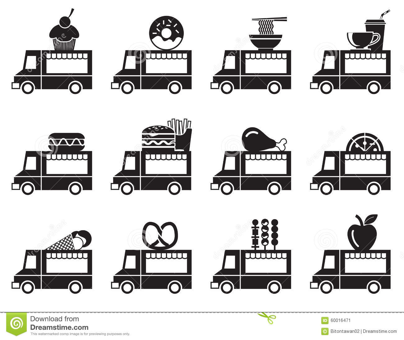 Food Truck Icon Set Stock Vector - Image: 60016471