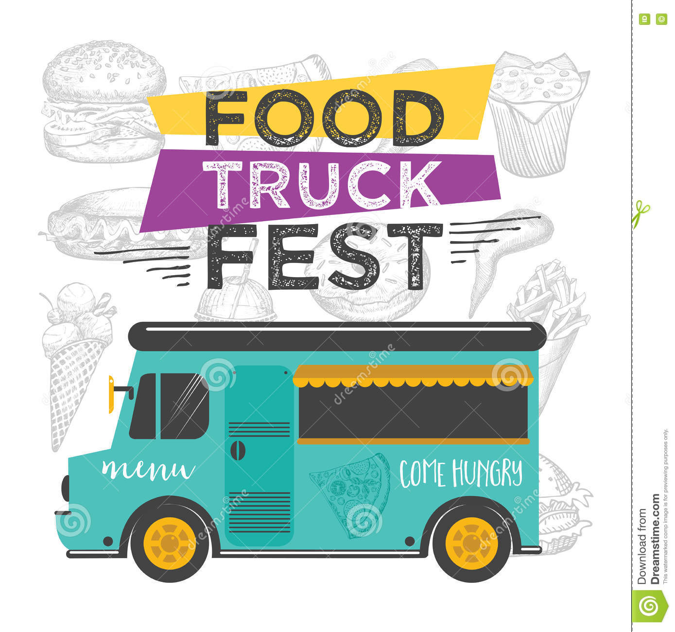 Food truck party invitation food menu template design for Food truck design app