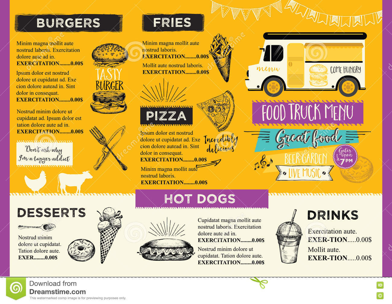 Food truck party invitation food menu template design for Kitchen 88 food truck utah menu