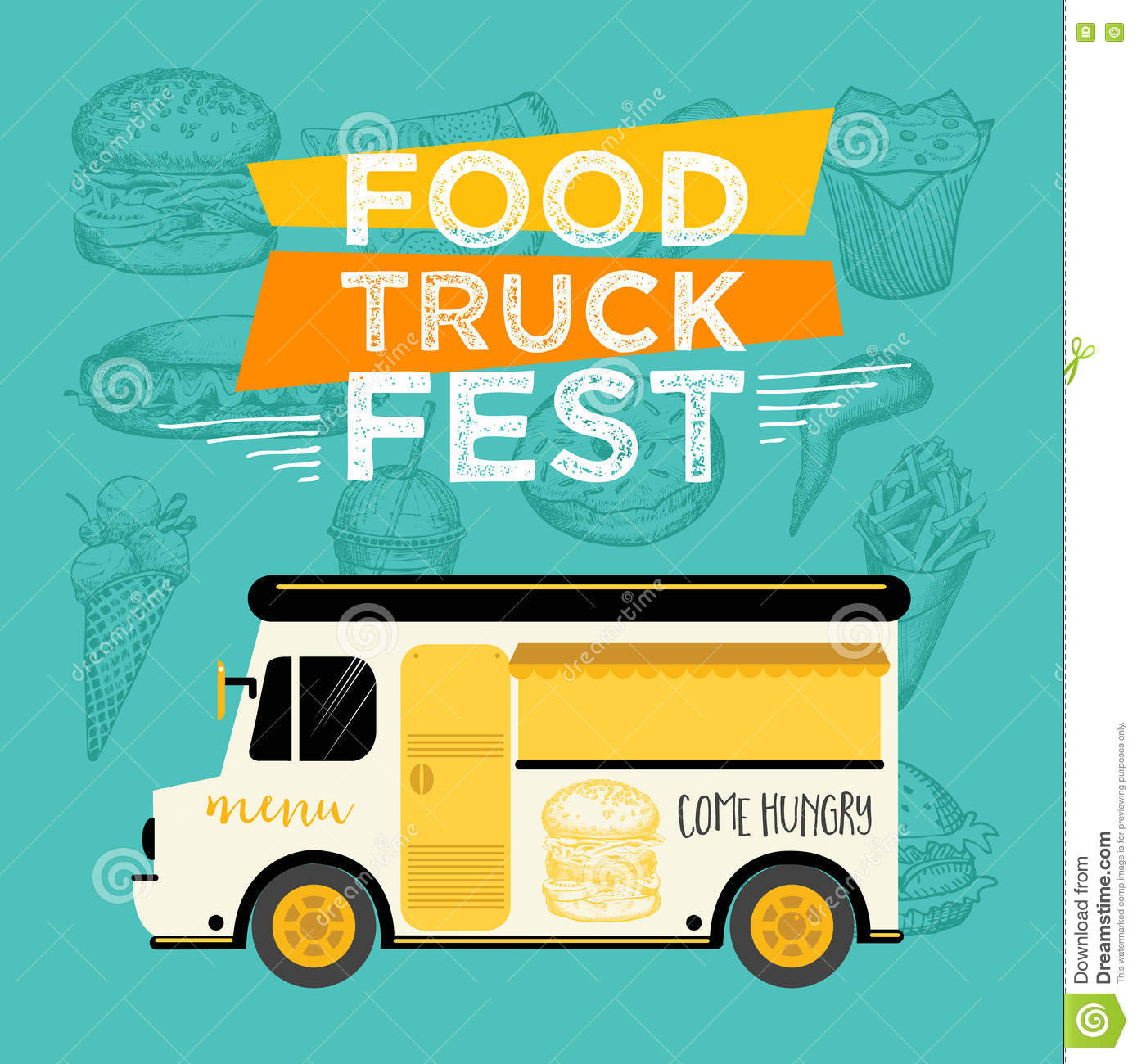 Food Truck Party Invitation Menu Template Design Fly Stock Photos