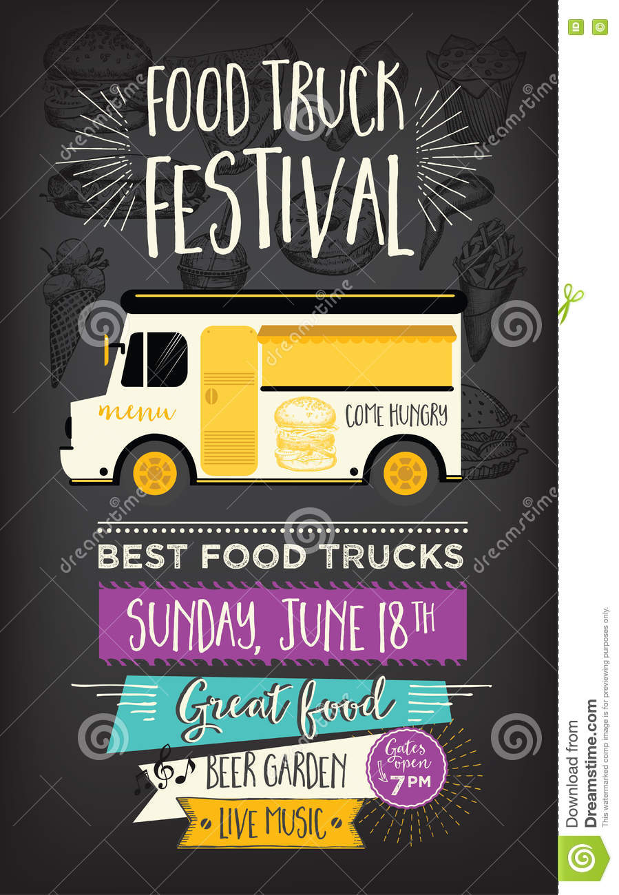 Food Truck Party Invitation. Food Menu Template Design. Food Fly ...